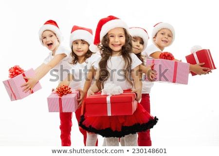 gülme · küçük · kız · kostüm · hediye - stok fotoğraf © nyul