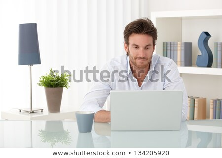 Goodlooking man using laptop smiling Stock photo © nyul