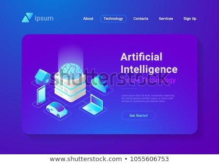 mesterséges · intelligencia · technológia · izometrikus · ikonok · 3D · infografika - stock fotó © frimufilms