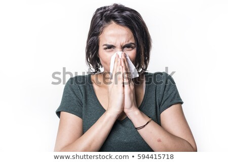 Tüsszentés lány influenza fehér arc nők Stock fotó © Lopolo