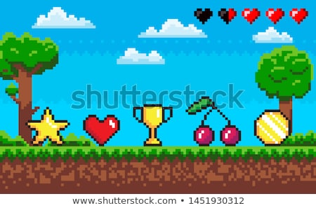 Pixel Game Scene with Icons, Cherry and Star Coin Stock photo © robuart