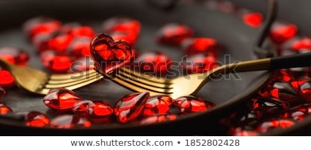 close up of table setting for valentines day Stock photo © dolgachov