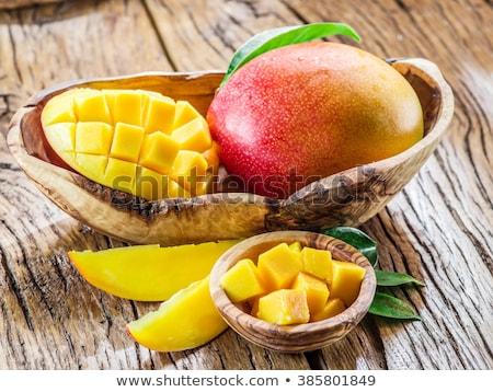 マンゴー フルーツ キューブ 木製のテーブル 熱帯 スタジオ ストックフォト © galitskaya