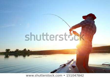 Fishing Hobby of Person, Man with Rod on Pond Stock photo © robuart