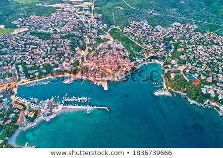 idyllic adriatic island town of krk aerial panoramic view stock photo © xbrchx