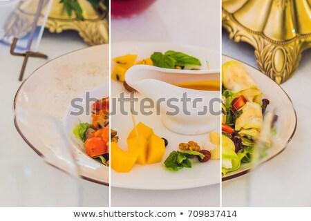 Collage trois plats restauration Ouvrir la restaurant Photo stock © galitskaya