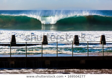 Large waves wash into the tidal ocean pool at sunrise Stock photo © lovleah