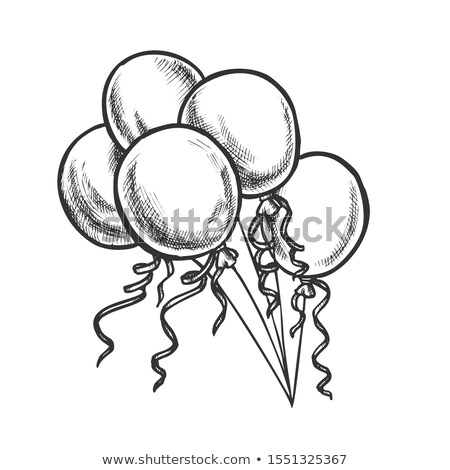 balloons with curled ribbon monochrome vector stock photo © pikepicture