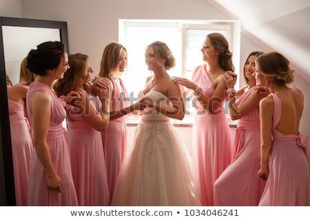 Koszorúslány menyasszony esküvő nap esküvői ruha szertartás Stock fotó © ruslanshramko