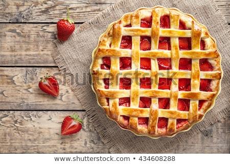 Strawberry pie on white plate Stock photo © Illia