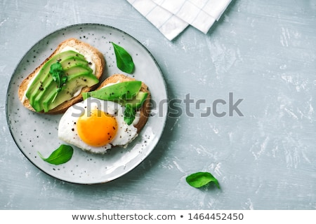 Sült tojások rozs kenyér zöldségek vektor Stock fotó © Margolana