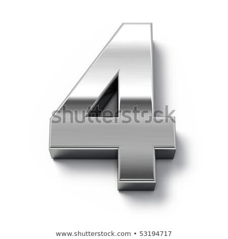 Brushed metal font Number 4 FOUR 3D Stock photo © djmilic