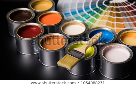 Foto stock: Metal Tin Cans With Color Paint And Paintbrush