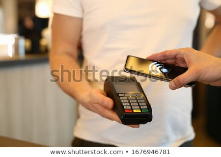 Bezahlung Smartphone Käufer kaufen Kasse linear Stock foto © vectorikart