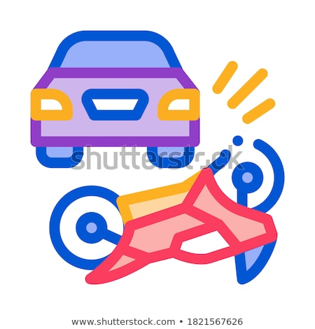 motorcycle hit by car icon vector outline illustration Stock photo © pikepicture