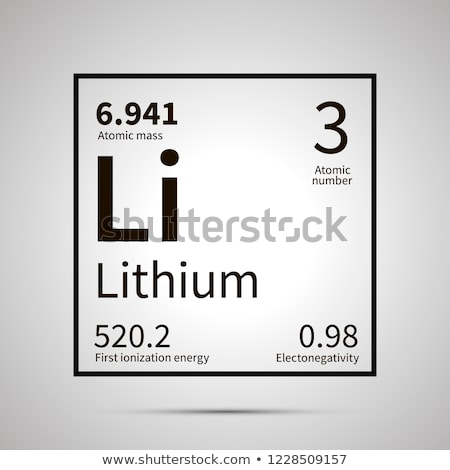 Lithium chemical element with first ionization energy, atomic mass and electronegativity values ,sim Stock photo © evgeny89