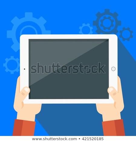 okostelefon · kék · vektor · ikon · gomb · háló - stock fotó © marish