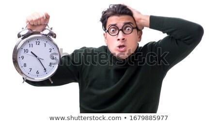 Nerd jovem dinheiro gigante relógio isolado Foto stock © Elnur