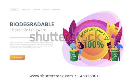 Biodegradable disposable tableware concept landing page Stock photo © RAStudio