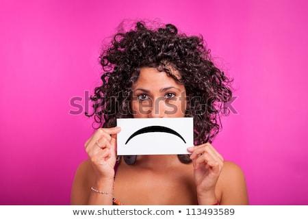 肖像 · 若い女性 · ボード · 悲しい · 顔文字 · 顔 - ストックフォト © ilolab