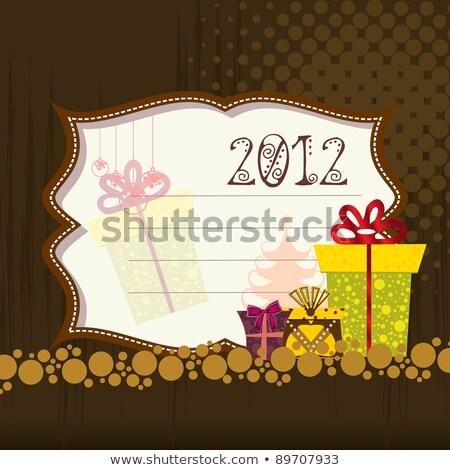 Photo stock: 2012 · happy · new · year · carte · de · vœux · coffrets · cadeaux · en · demi-teinte · or