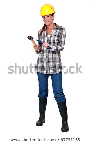 Cunha martelo mulher casa construção Foto stock © photography33