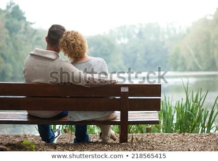 érett pár pad szeretet nők boldog Stock fotó © photography33