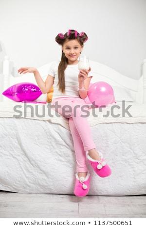 gyönyörű · lány · ül · ágy · gyönyörű · szőke · nő · lány - stock fotó © stryjek
