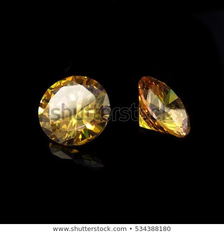 Citromsárga zafír izolált fehér drágakő gyémánt Stock fotó © Rozaliya