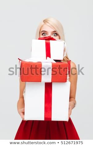 szőke · nő · tart · ajándék · doboz · ül · szőnyeg · lány - stock fotó © dmitri_gromov