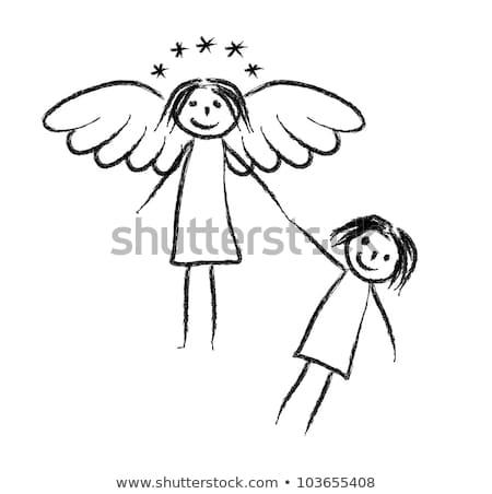 kislány · angyalszárnyak · egyéves · visel · fehér · hátulnézet - stock fotó © pzaxe