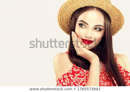 Pinup kalap szexi fiatal nő kabaré ruha Stock fotó © carlodapino