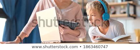 gelukkig · kind · werken · huiswerk · home · familie - stockfoto © photography33