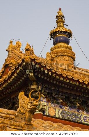 Roofs Figures Yonghe Gong Buddhist Temple Beijing China Stock photo © billperry