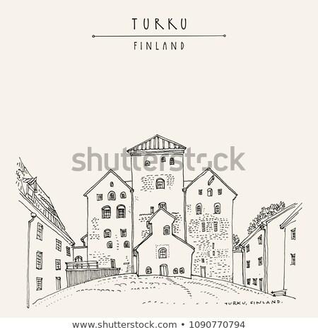 Starych bastion średniowiecznej zamek północny zachód niebo Zdjęcia stock © smuki