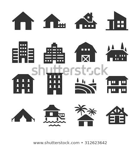 Vektor ikon bungaló óceán Stock fotó © zzve