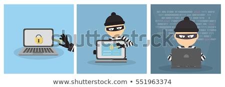Számítógép bűnöző tevékenység kezek középkorú felnőtt férfi Stock fotó © eldadcarin