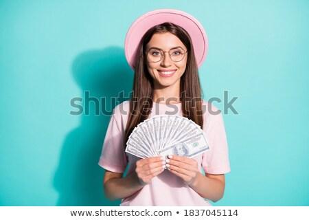Fiatal lezser nő bankjegyek fehér pénz Stock fotó © wavebreak_media