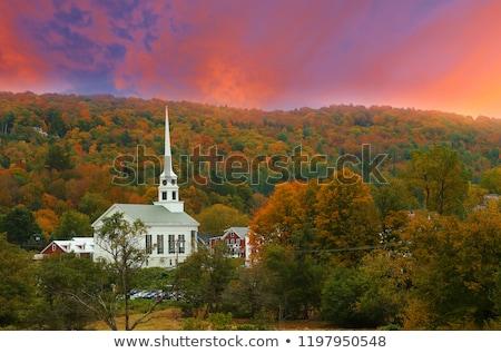gemeenschap · kerk · najaar · vallen · loof · Vermont - stockfoto © DonLand