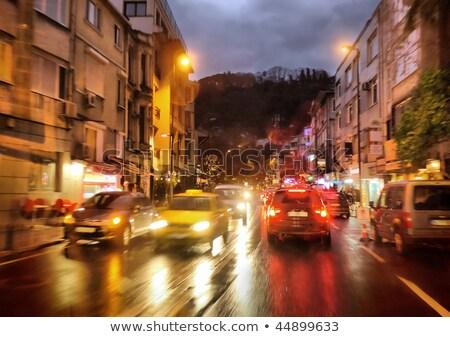 Carro em movimento chuvoso noite luz Foto stock © lunamarina