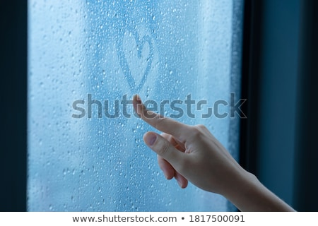 starych · okno · zimą · pełny · śniegu · szkła - zdjęcia stock © stokkete