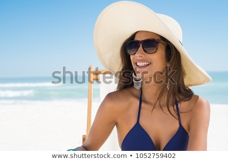 улыбающаяся · женщина · Бикини · позируют · розовый · белый - Сток-фото © chesterf