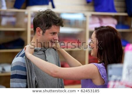 sorridente · compras · roupa · juntos · roupa - foto stock © get4net