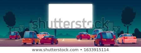Drive film theater spreker post nacht Stockfoto © sdenness