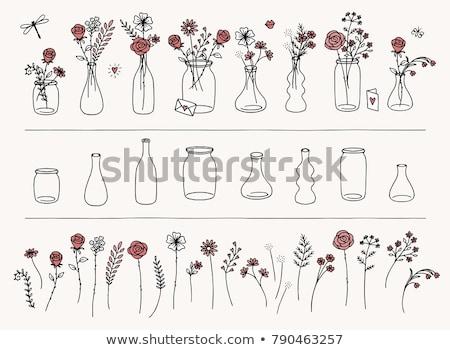 цветы ваза черно белые природы красоту Сток-фото © blackberryjelly