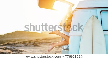 Surfer · смотрят · волны · закат · Португалия · пляж - Сток-фото © kzenon