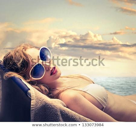 mooie · jonge · vrouw · Rood · bikini · water · permanente - stockfoto © witthaya