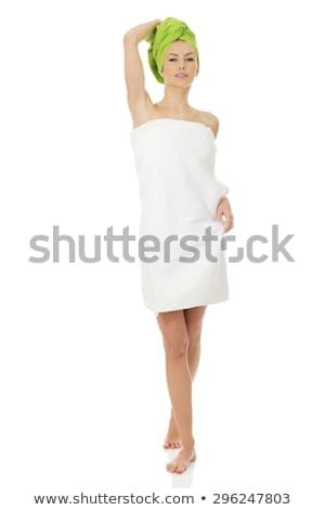Foto stock: Mulher · banho · toalha · branco