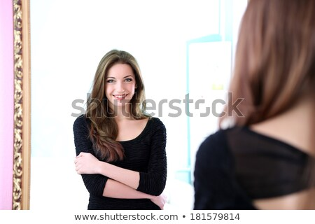 Felfelé tükör gyönyörű nő kompakt nő szem Stock fotó © ssuaphoto