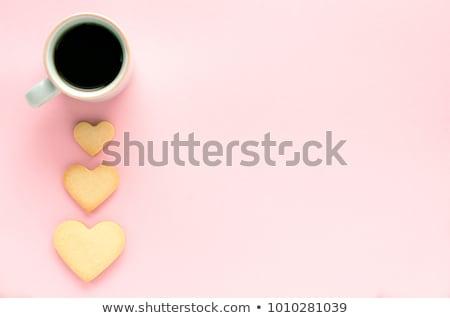 Café biscuit tasse de café deux coeur Photo stock © Tagore75